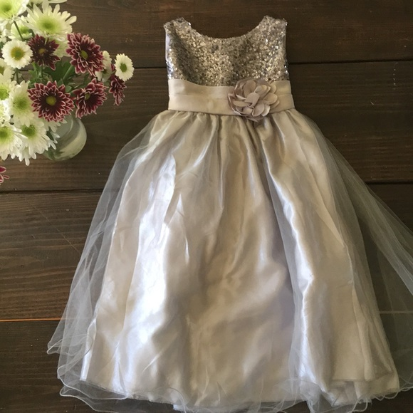 Dresses sequined silver flower girl dress poshmark m5a70d45b46aa7c441f208daa mightylinksfo